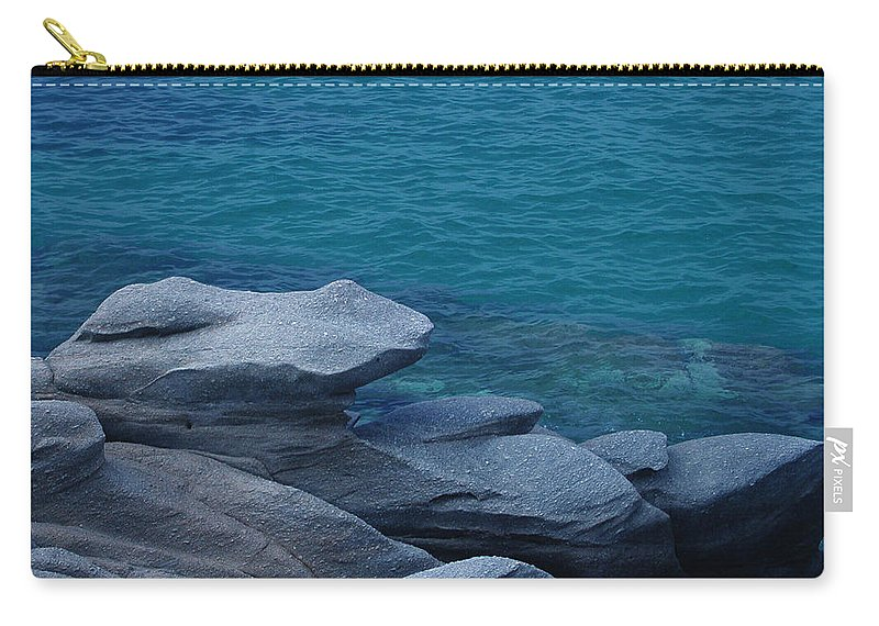 Colette Carry-all Pouch featuring the photograph Mykonos Cliff Frog Greece by Colette V Hera Guggenheim