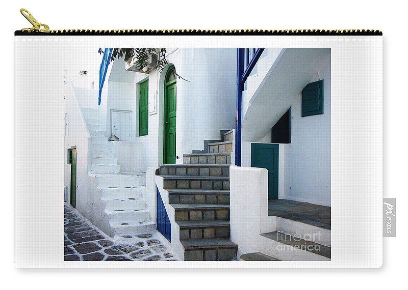 Mykonos Carry-all Pouch featuring the photograph Mykonos Stairs by Rebecca Margraf