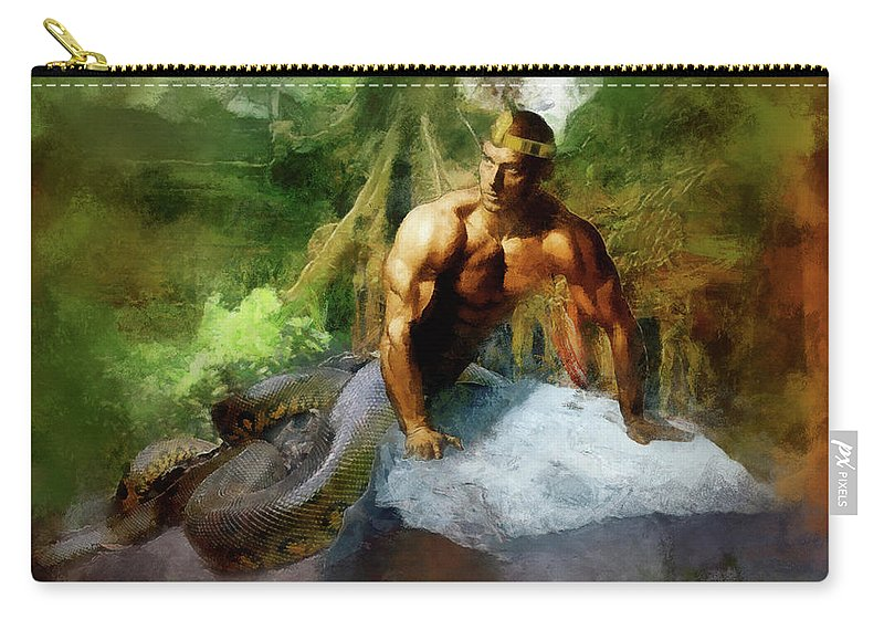 Muscle Carry-all Pouch featuring the digital art Naga - King Cobra by Marcin and Dawid Witukiewicz
