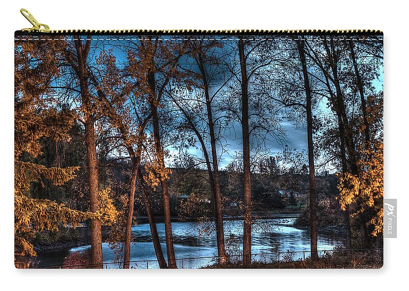 Acrylic Prints; Aluminum Prints; Canvas Prints; Digital; Digital Art; Framed Prints; Greeting Cards; John Herzog; Metal Prints; Photo; Photograph; Photography; Posters; Prints; Xdop; color Carry-all Pouch featuring the photograph Napanee River At Dawn by John Herzog