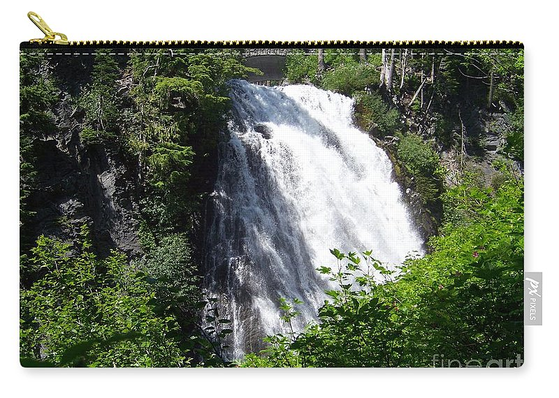 Waterfall Carry-all Pouch featuring the photograph Narada Falls Through The Trees by Charles Robinson