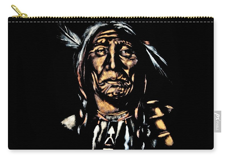Native American Carry-all Pouch featuring the painting Native American Elder by Mander Jack