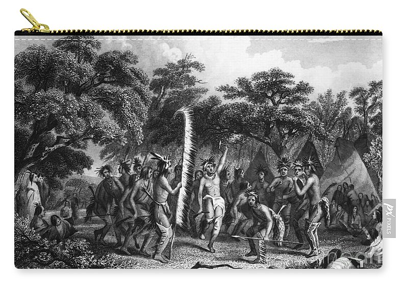 1853 Carry-all Pouch featuring the photograph Native Americans: Dance by Granger