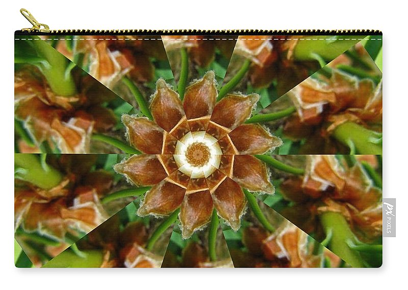 Green Carry-all Pouch featuring the digital art Natural Pinwheel by Rhonda Barrett