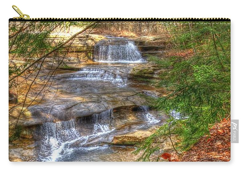 Waterfall Carry-all Pouch featuring the photograph Natures Shadows And Light by Shirley Tinkham