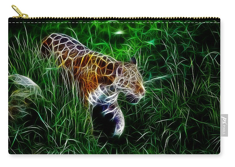 Tiger Carry-all Pouch featuring the digital art Neon Tiger by Steve K