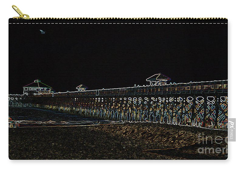 Neon Carry-all Pouch featuring the photograph Neoned Pier by Lydia Holly