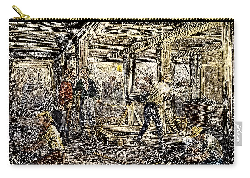 1880 Carry-all Pouch featuring the photograph Nevada Silver Mine, C1880 by Granger