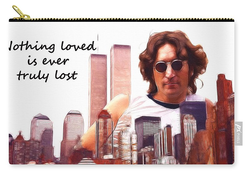 New York World Trade Center Ny John Lennon Love Loved Lost Never Collage Skyscraper Skyline City Oil Painting Expressionism Carry-all Pouch featuring the painting Never Lost by Steve K