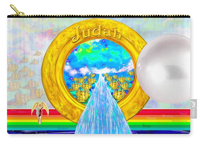 New Jerusalem Carry-all Pouch featuring the painting New Jerusalem Closeup - City Of God's Kingdom On Earth by Susanna Katherine