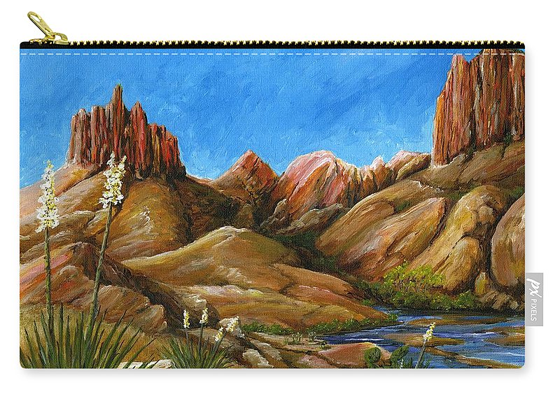 Landscape Carry-all Pouch featuring the painting New Mexico Highlands In Spring by Carlene Salazar