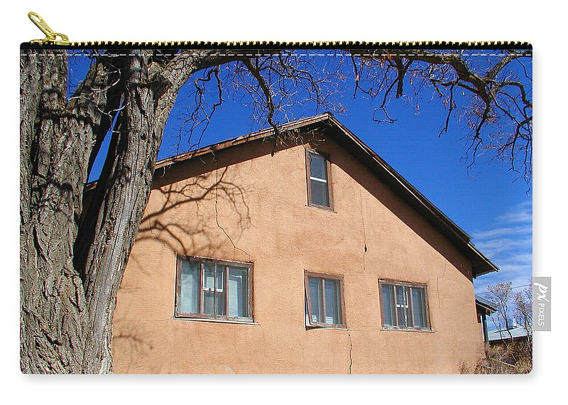 Southwestern Carry-all Pouch featuring the photograph New Mexico Series - Adobe Building by Kathleen Grace