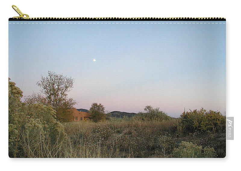 Landscape Carry-all Pouch featuring the photograph New Mexico Series - Moonrise by Kathleen Grace