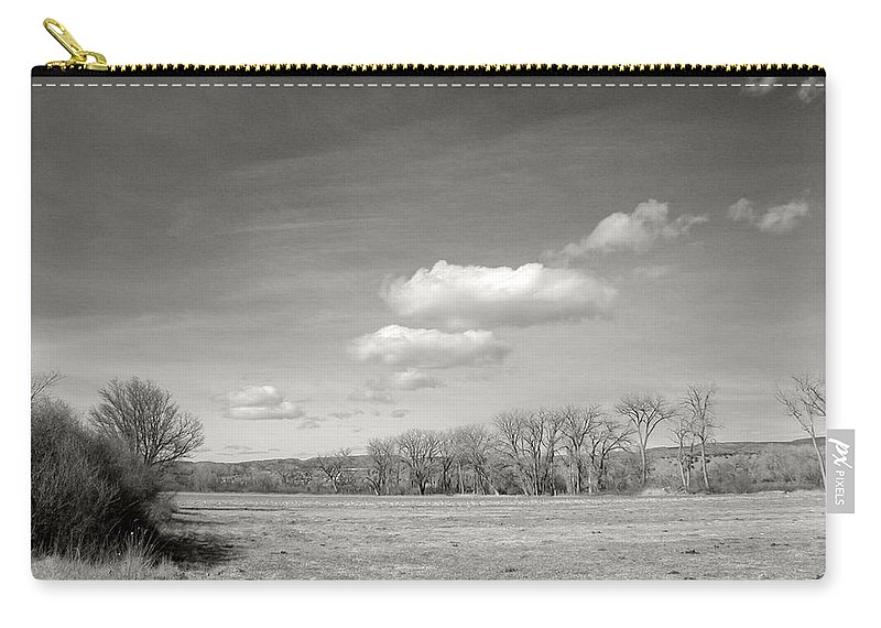 Landscape Carry-all Pouch featuring the photograph New Mexico Series - The Long View Black And White by Kathleen Grace