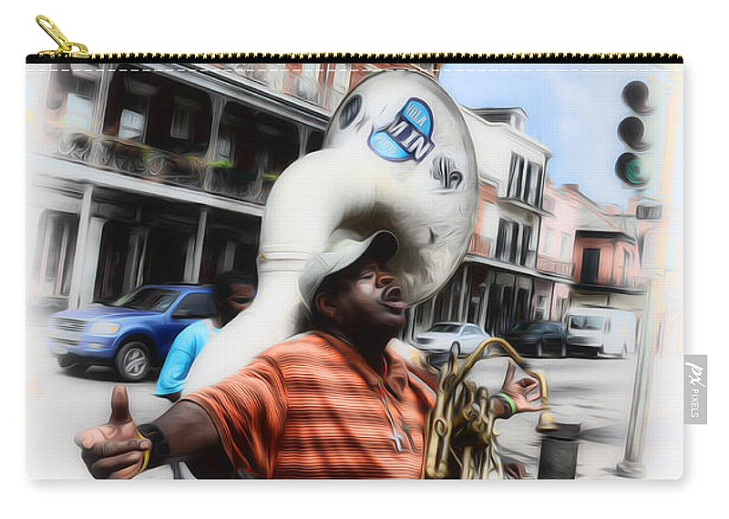 New Orleans Street Musician - Tuba Man Carry-all Pouch featuring the photograph New Orleans Street Musician - Tuba Man by Bill Cannon