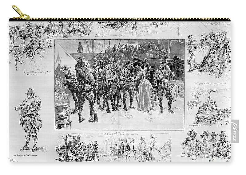 1898 Carry-all Pouch featuring the photograph New York: Camp Wikoff, 1898 by Granger