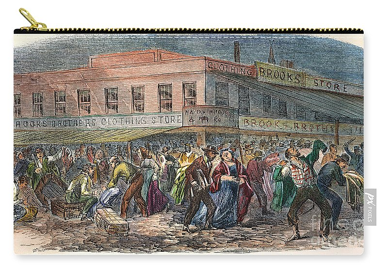 1863 Carry-all Pouch featuring the photograph New York: Draft Riots 1863 by Granger
