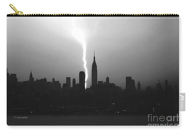 New York Skyline Carry-all Pouch featuring the photograph New York Electric by Regina Geoghan