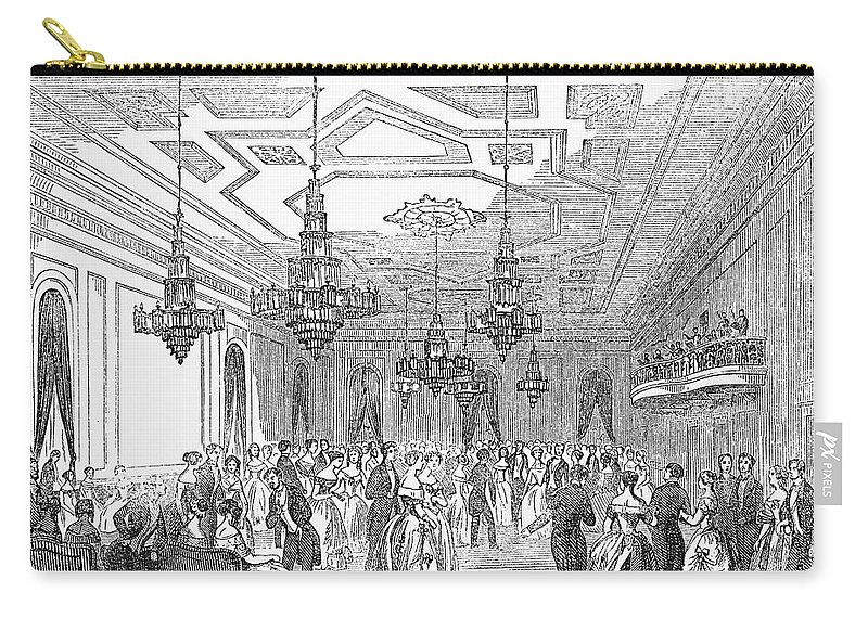 1853 Carry-all Pouch featuring the photograph New York: Opera House by Granger