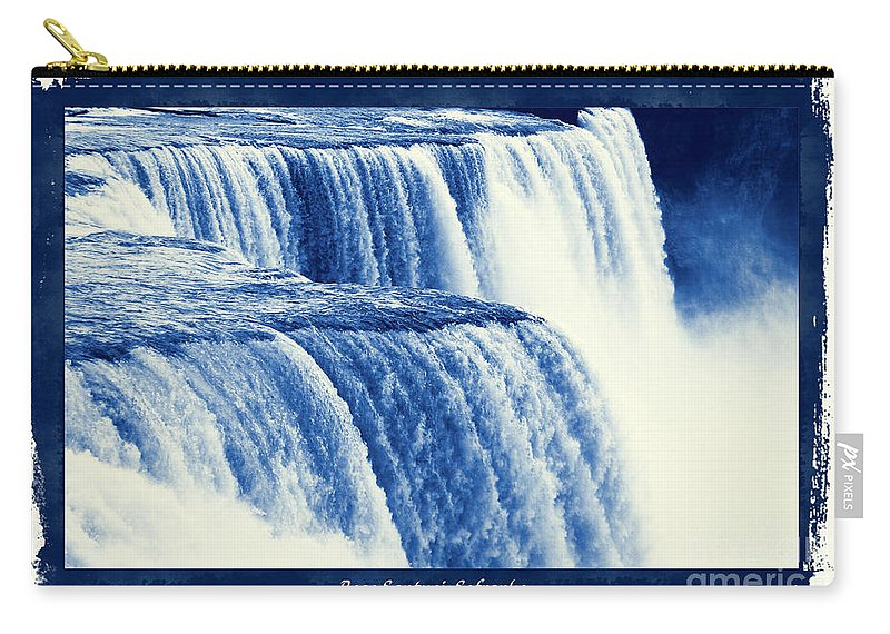 Cyanotypes Carry-all Pouch featuring the photograph Niagara Falls Cyanotype Effect by Rose Santuci-Sofranko