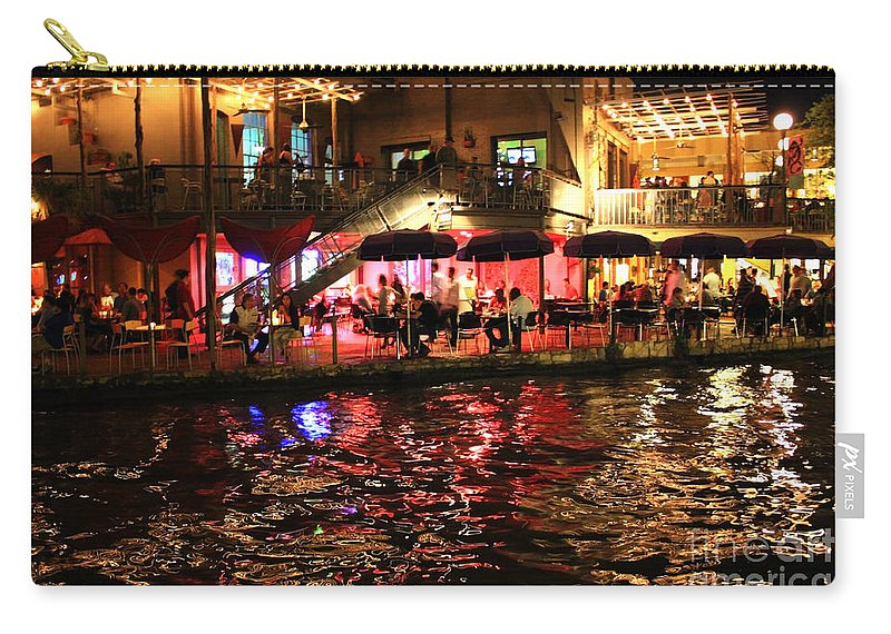 San Antonio Carry-all Pouch featuring the photograph Night Glow On River Walk by Carol Groenen