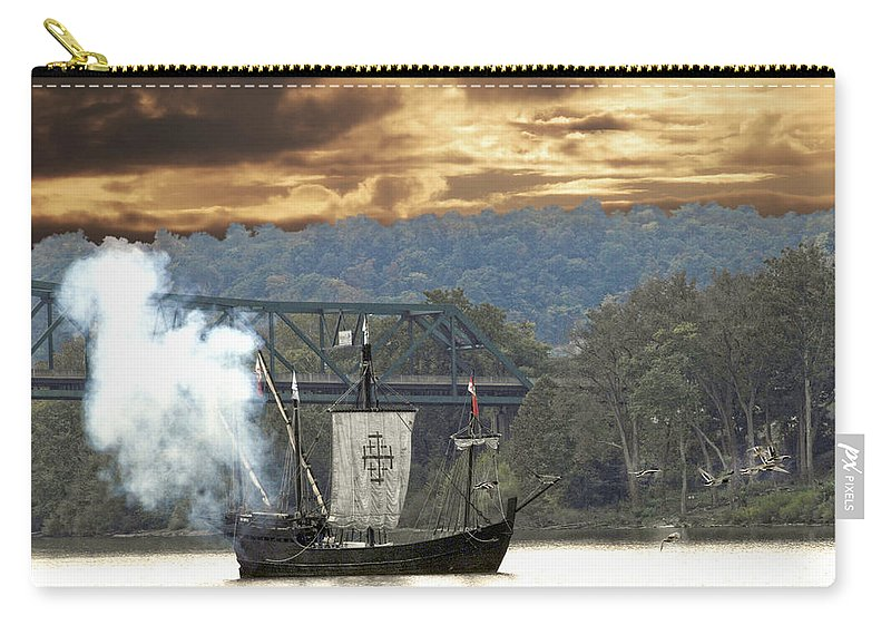 Nina Reoroduction Carry-all Pouch featuring the photograph Nina's Canon Scares Ducks Off River by Randall Branham