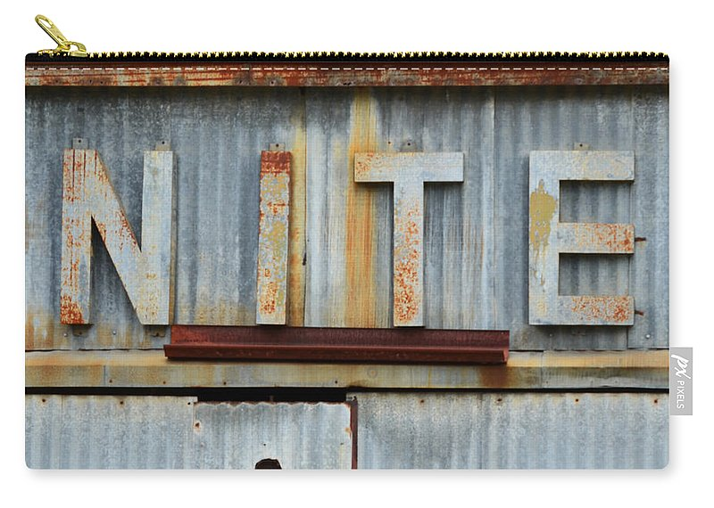Nite Carry-all Pouch featuring the photograph Nite Rusty Metal Sign by Nikki Marie Smith