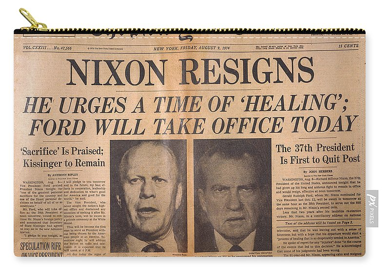 1974 Carry-all Pouch featuring the photograph Nixon Resigns: Newspaper by Granger
