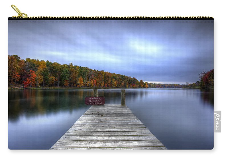 Little Seneca Lake Carry-all Pouch featuring the photograph No Loitering No Fishing No Fun by Edward Kreis