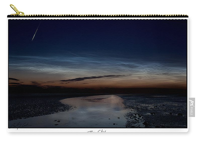 Noctilucent Clouds Carry-all Pouch featuring the photograph Noctilucent Clouds And Shooting Star by Beverly Cash
