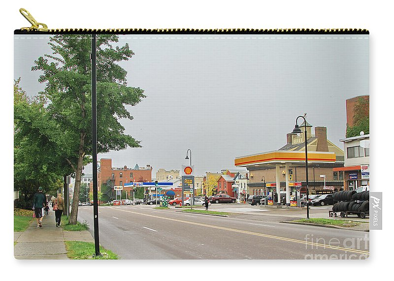 Street Life Carry-all Pouch featuring the photograph North Winooski Ave. by Deborah Benoit