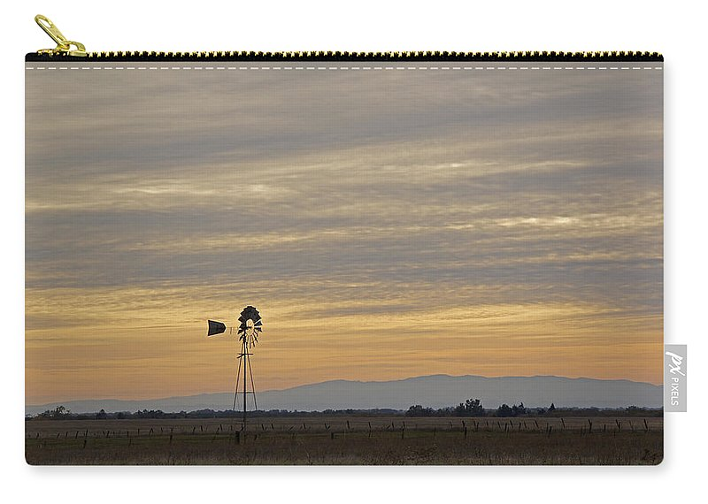 Northern California Carry-all Pouch featuring the photograph Northern California Windmill by Mick Anderson