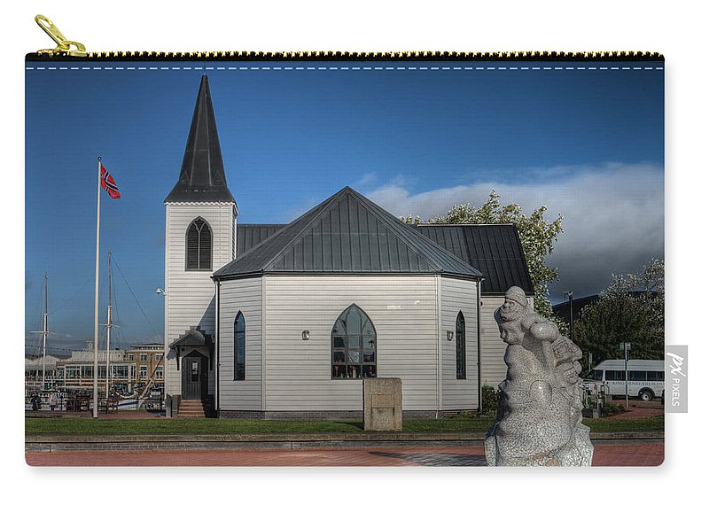 Norwegian Church Cardiff Bay Carry-all Pouch featuring the photograph Norwegian Church Cardiff Bay 2 by Steve Purnell