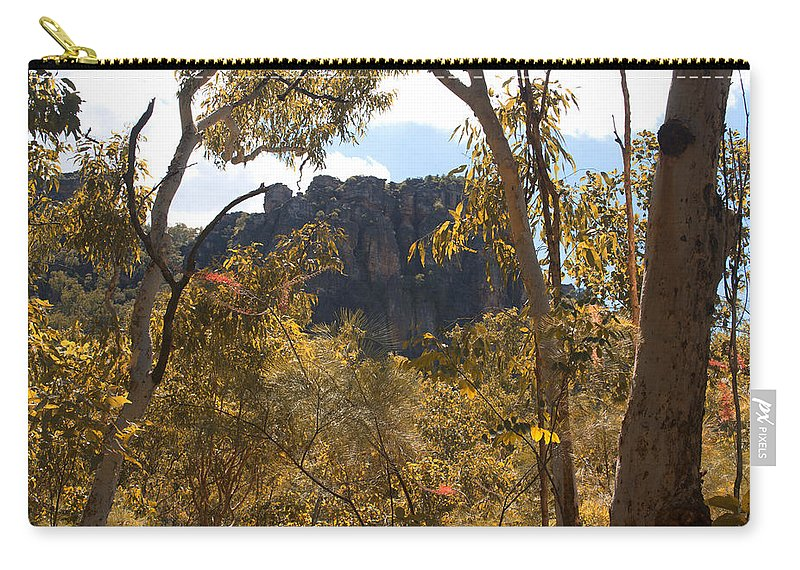 Nourlangie Rock Carry-all Pouch featuring the photograph Nourlangie Rock Outlook by Douglas Barnard