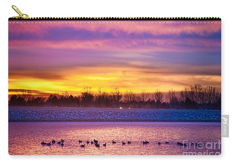 Sunrise Carry-all Pouch featuring the photograph November Lagerman Reservoir Sunrise by James BO Insogna