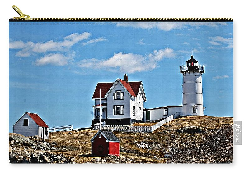 Nubble Light Carry-all Pouch featuring the photograph Nubble Light I by Joe Faherty