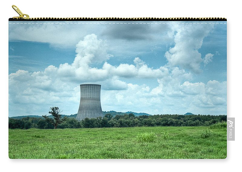 Nuclear Carry-all Pouch featuring the photograph Nuclear Cooling Tower by Douglas Barnett