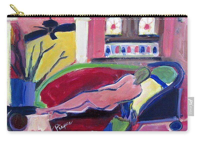 Nude On Old Fashioned Wheeled Lounge Carry-all Pouch featuring the painting Nude With Fan In Foyer by Betty Pieper