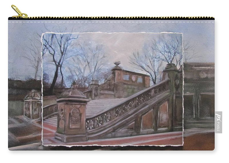 Nyc Carry-all Pouch featuring the mixed media NYC Bethesda Stairs layered by Anita Burgermeister