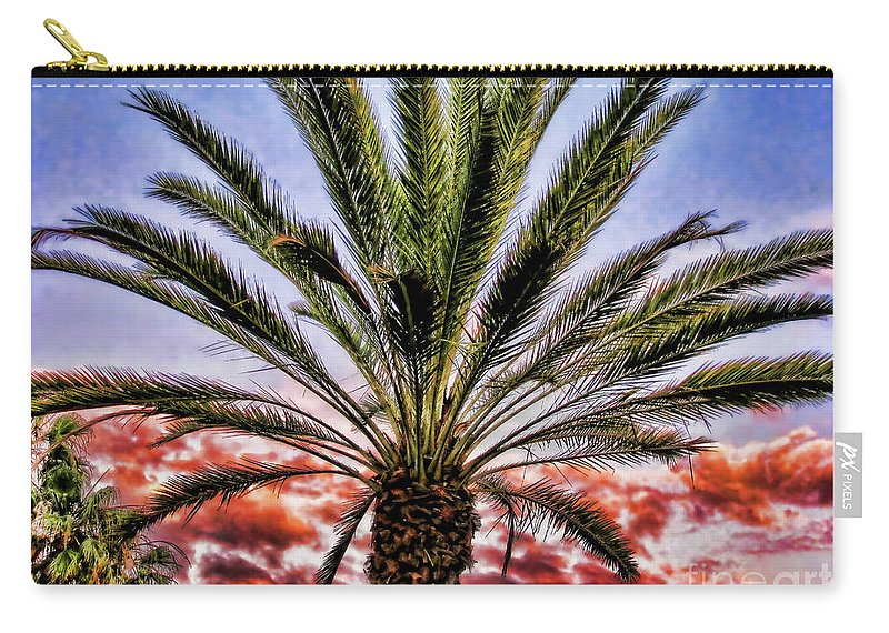 Oasis Carry-all Pouch featuring the photograph Oasis Palms by Mariola Bitner