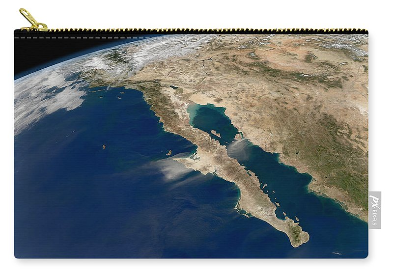 Baja California Carry-all Pouch featuring the photograph Oblique View Of Baja California by Stocktrek Images