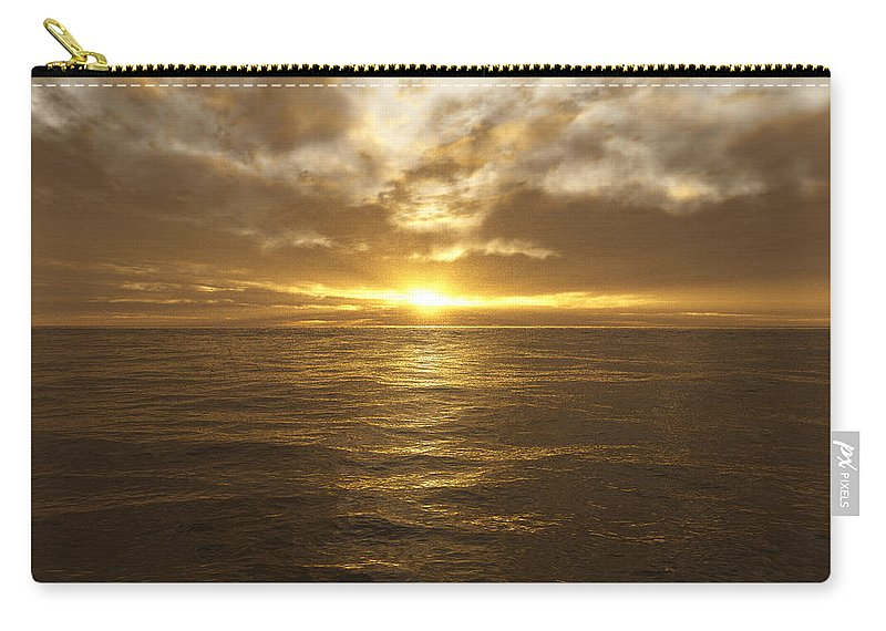 Seascape Carry-all Pouch featuring the digital art Ocean Sunset by Mark Greenberg