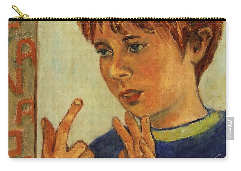 Boy Carry-all Pouch featuring the painting Oilver Twist by Xueling Zou
