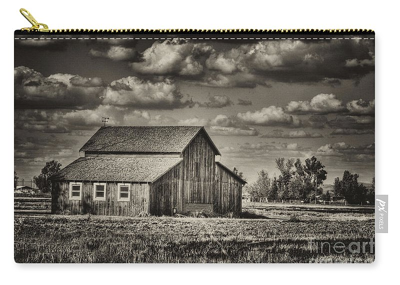 Barn Carry-all Pouch featuring the photograph Old Barn After The Storm Black And White by Jim And Emily Bush