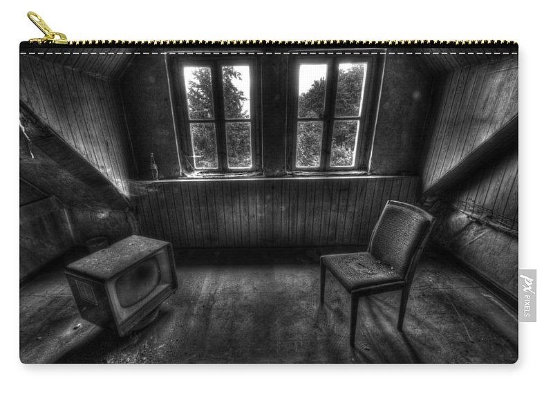Urbex Carry-all Pouch featuring the photograph Old Black And White Tv by Nathan Wright