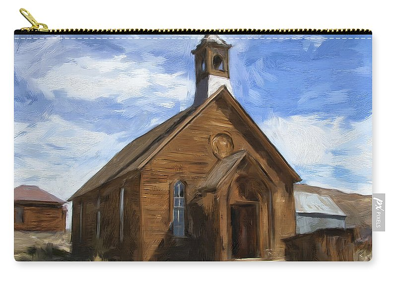 Church Carry-all Pouch featuring the painting Old Church At Bodie by Dominic Piperata