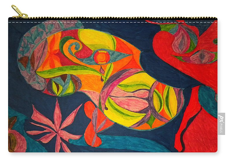 Colette Carry-all Pouch featuring the drawing Old Drawing I Painted In 1985 by Colette V Hera Guggenheim