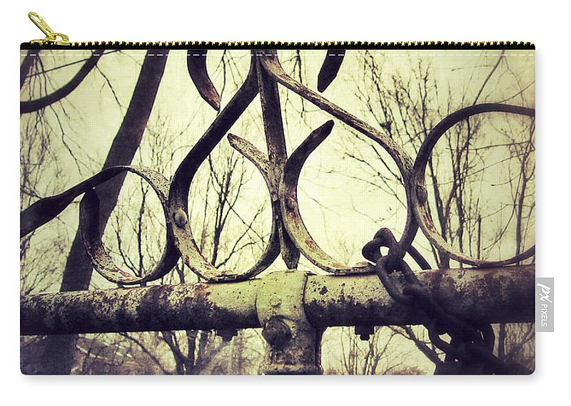 Fence Carry-all Pouch featuring the photograph Old Fence Detail by Jill Battaglia