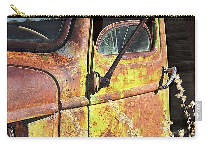 Truck Carry-all Pouch featuring the photograph Old Green Truck Door by Phyllis Denton
