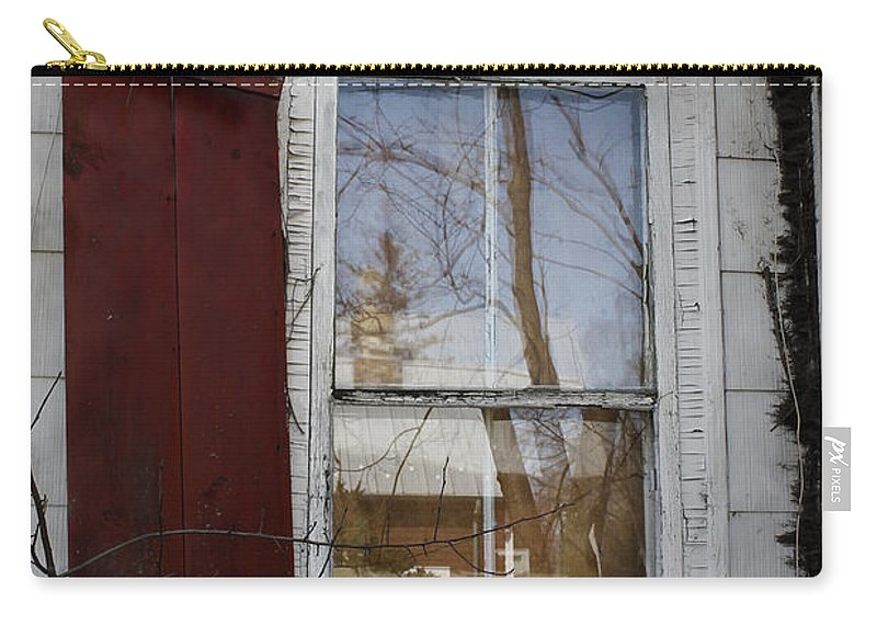 Dilapidated Carry-all Pouch featuring the photograph Old House Red Shutter 1 by Robin Lewis